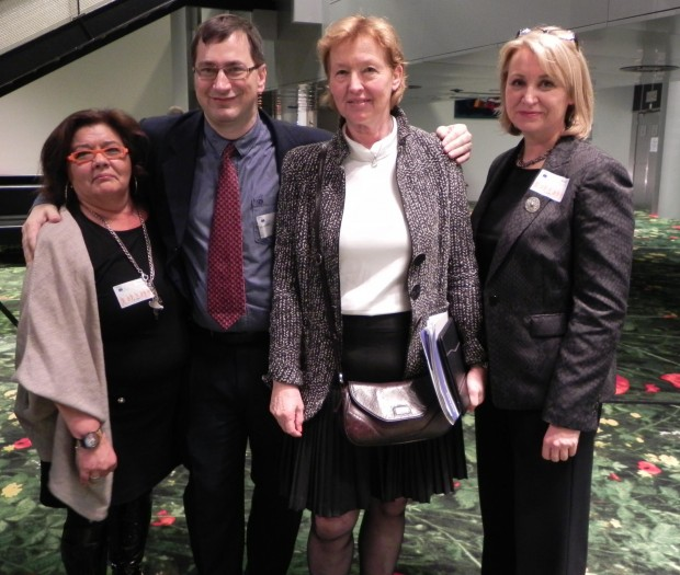 Members of the ILAE IBE Joint Task Force: Anastasia Vassou: Greece, Michael Alexa: Austria, and Shirley Maxwell: Scotland, with Zofija Mazej Kukovič: MEP Slovenia (third from left)