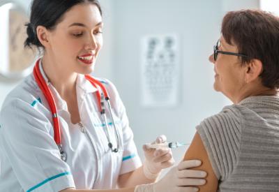 Person receiving vaccine